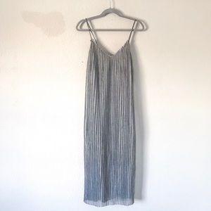 {Zara} Pleated Silver Mesh Maxi Dress